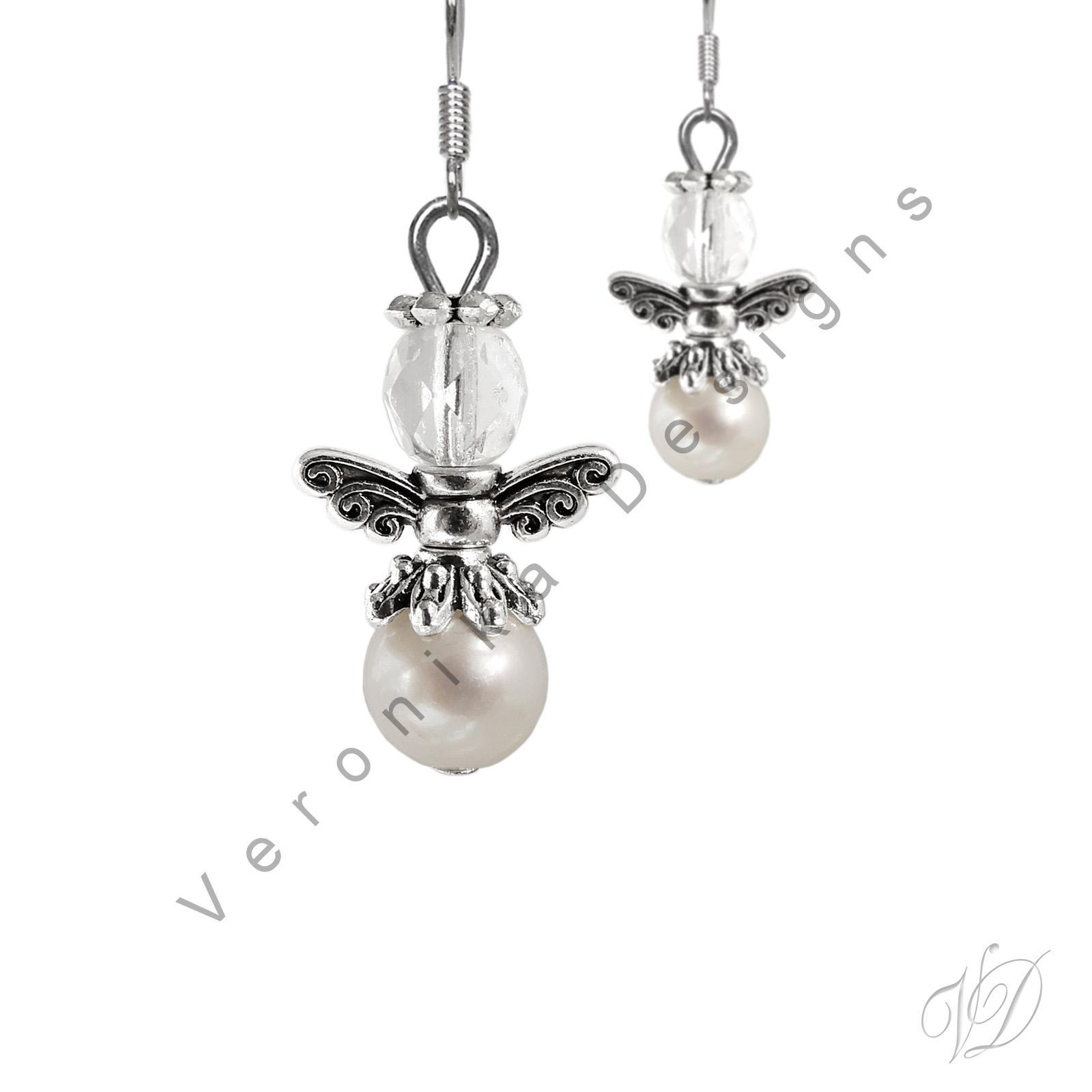 Andělé náušnice minerál Perla říční